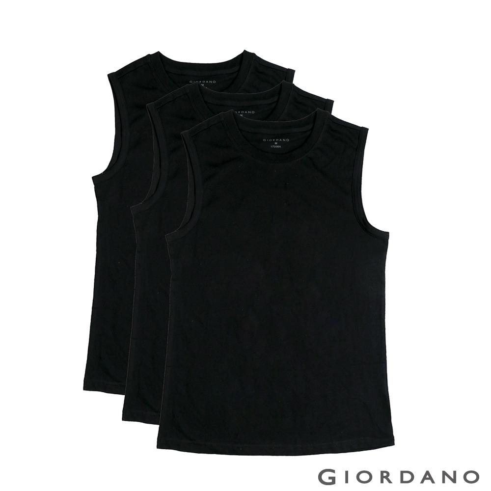 GIORDANO 男裝素色純棉無袖背心(三件組)-29 標誌黑