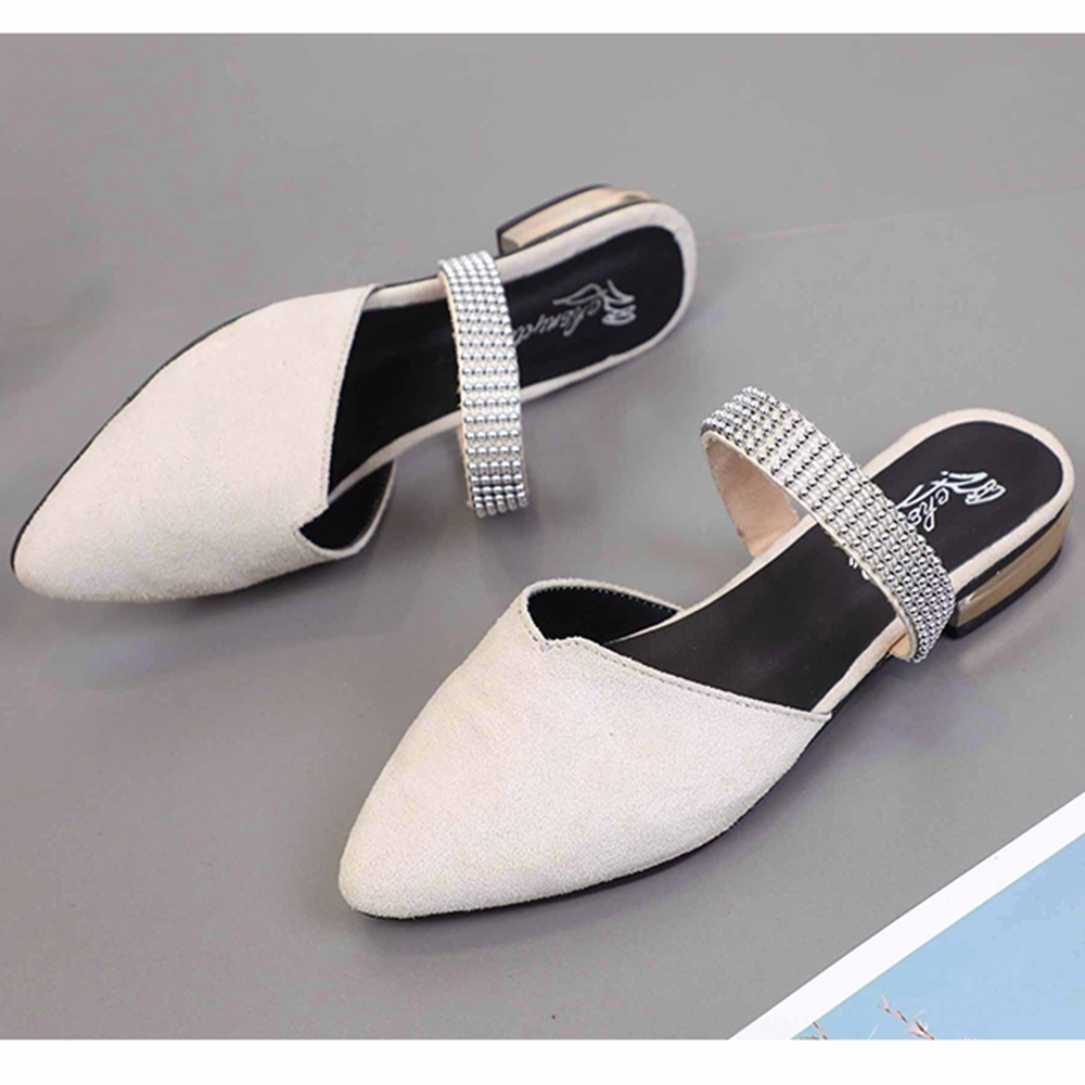 KEITH-WILL時尚鞋館 女人話題閃亮尖頭穆勒鞋 米白