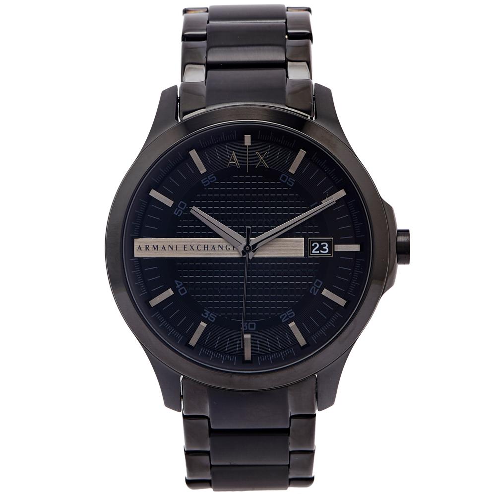 ARMANI EXCHANGE 黑色時尚風的鋼帶手錶(AX2104)-黑色面/46mm