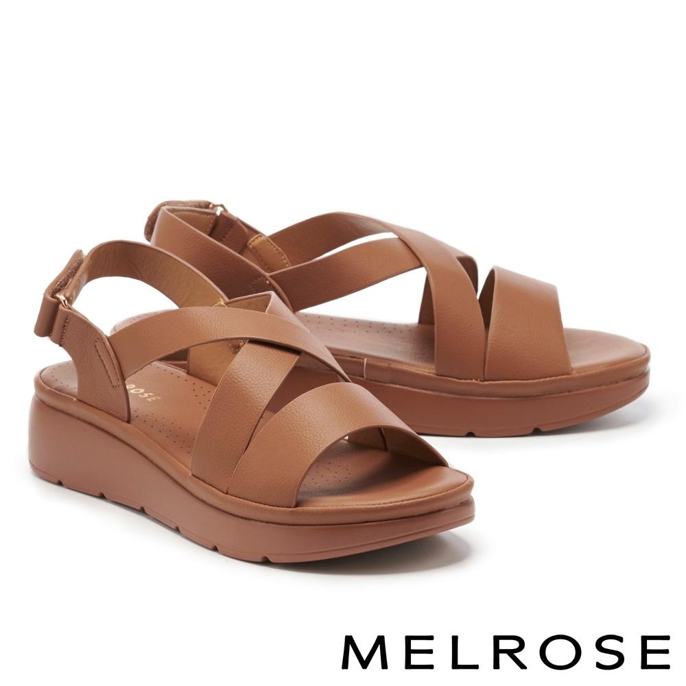涼鞋 MELROSE 簡約低調交叉寬帶楔型涼鞋-咖