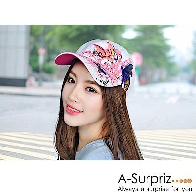 A-Surpriz 花香蝶舞立體刺繡棒球帽(白)