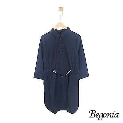 Begonia 排釦腰鬆緊七分袖棉麻洋裝(藏青色)