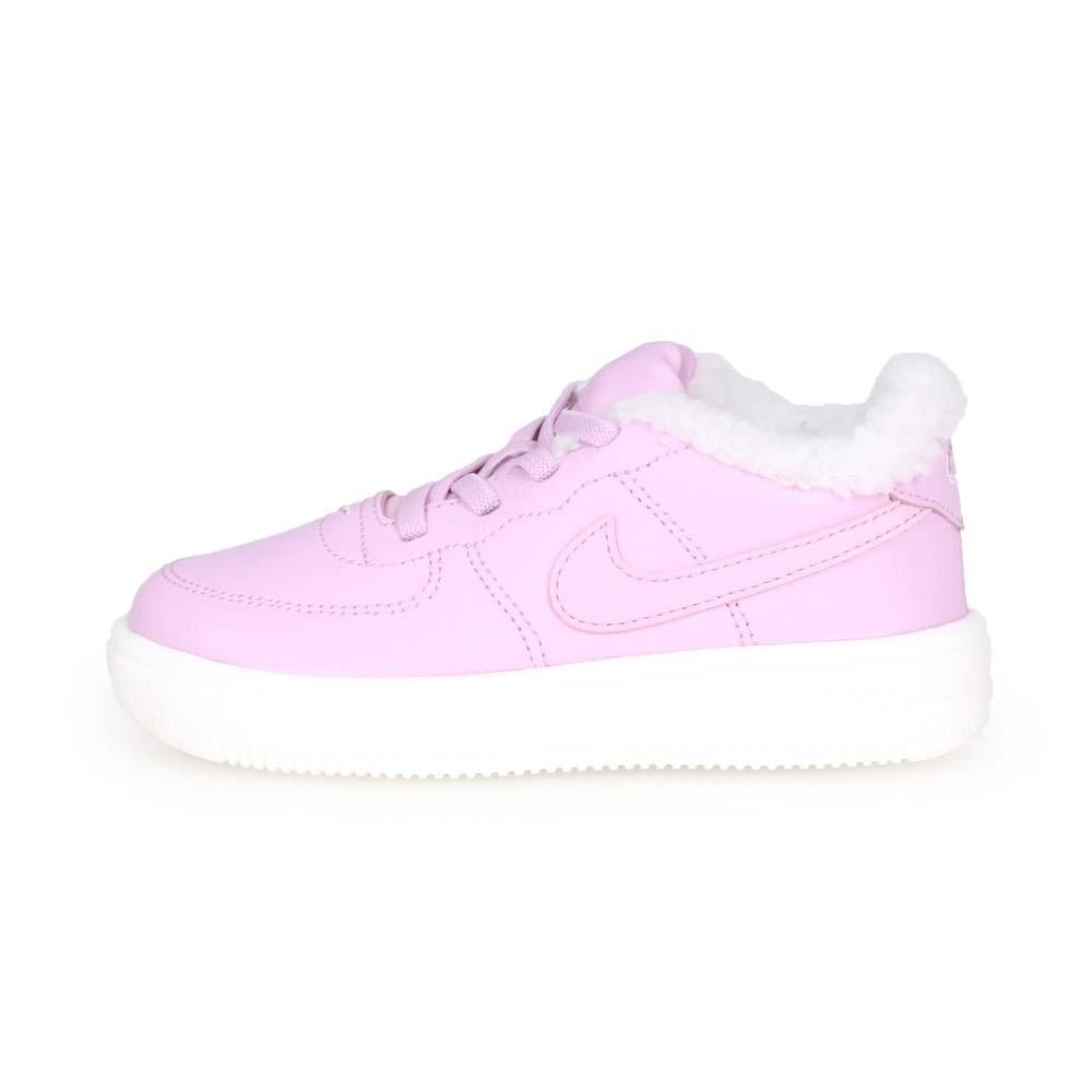 NIKE FORCE 1 18 SE-TD 女兒童運動鞋-保暖 慢跑 粉紫白
