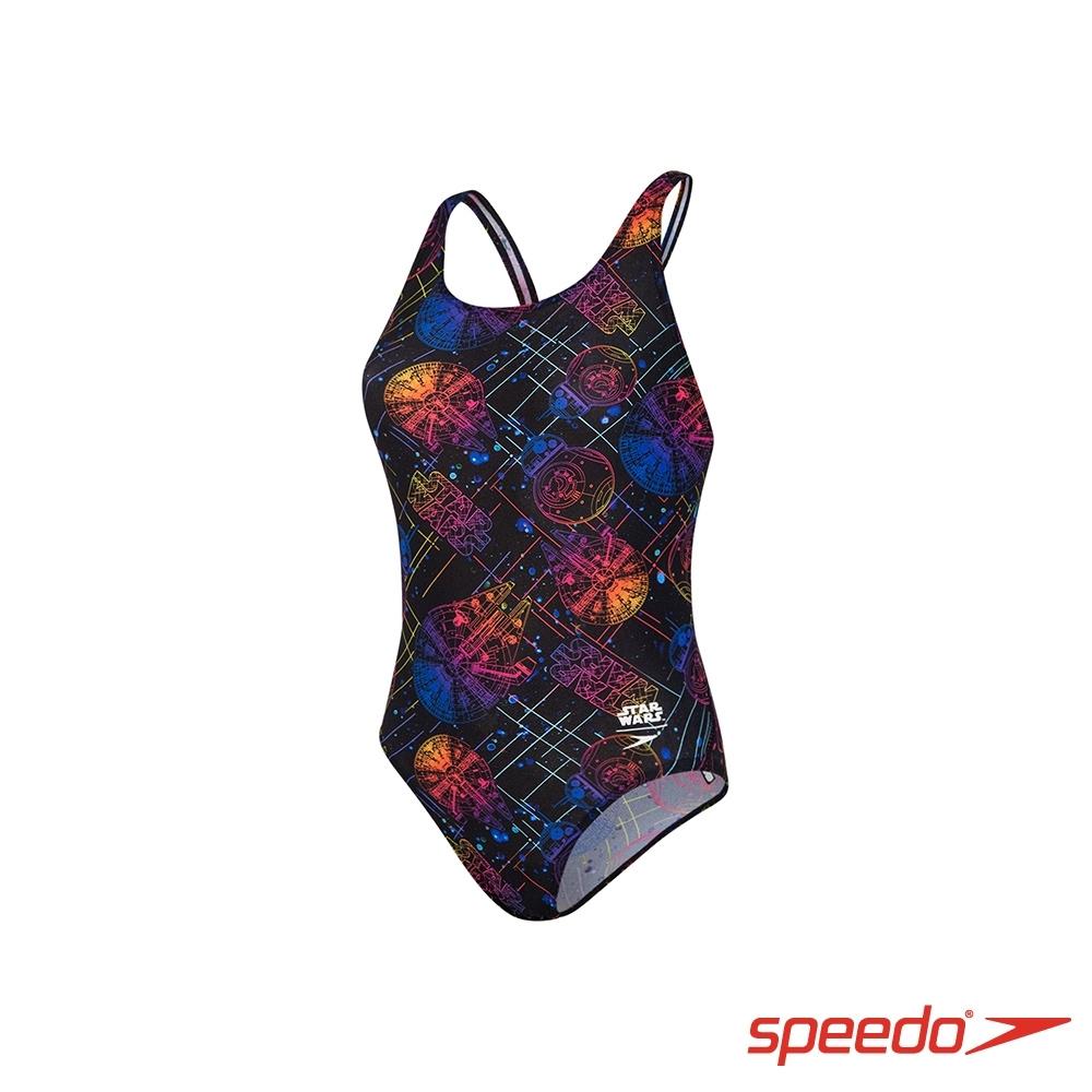 SPEEDO 女孩 運動連身泳裝 星際大戰 黑/星球