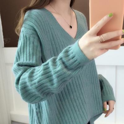 初色  V領簡約針織毛衣-共5色-(F可選)
