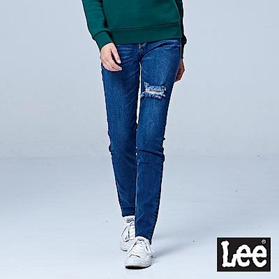 Lee 409中腰合身窄管牛仔褲/RG-中藍色