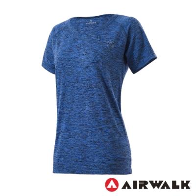 【AIRWALK】無縫設計吸排短T-女-藍