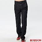 【BOBSON】男款熱感IN打褶休閒褲(藍52)