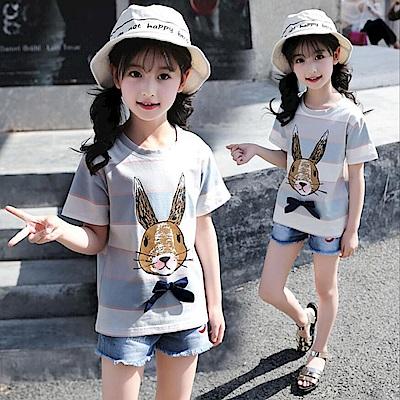 小衣衫童裝    中大童寬條小兔子蝴蝶結短袖T恤1070524