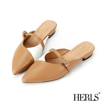 HERLS穆勒鞋 撞色拼接瑪莉珍尖頭穆勒鞋拖鞋 棕X白