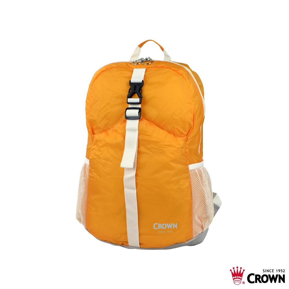 CROWN 皇冠 防水防撕裂 摺疊後背包 桔色