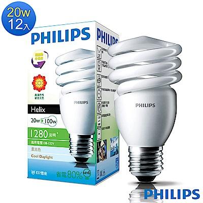 飛利浦Philips HELIX 精巧電子式省電燈泡 20W 白光E27(12入)