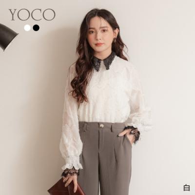 東京著衣-YOCO 時髦韓風透膚羽毛蕾絲氣質上衣