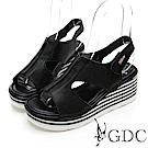 GDC-真皮好穿中空交叉露趾簡約魚口涼鞋-黑色