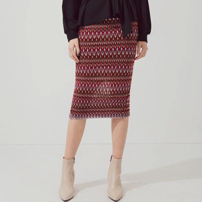 AIR SPACE 層次感民俗圖騰針織窄管裙(紫)