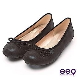 ee9 MIT經典手工質感簡約蝴蝶結超輕豆豆娃娃鞋 黑色