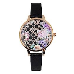 Olivia Burton 英倫復古手錶 閃亮格紋花園  黑色真皮錶帶玫瑰金框34mm