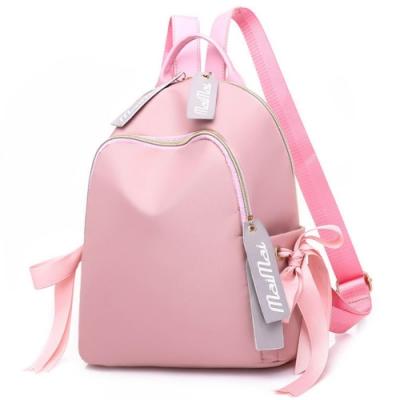 I.Dear-韓系可愛校園少女風字母緞帶雙肩後背包(BG91粉色)