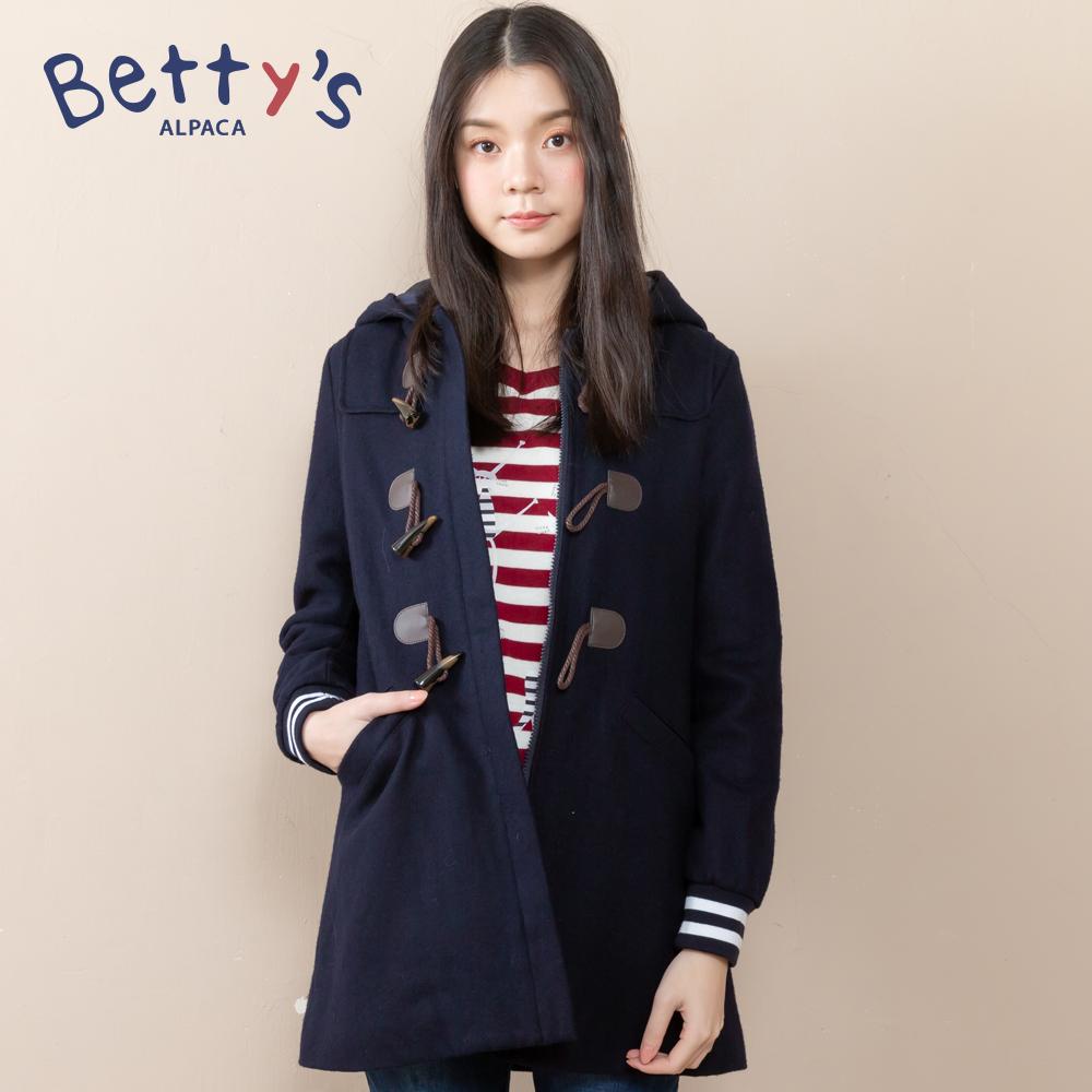 betty's貝蒂思 混羊毛牛角釦長版大衣(深藍)
