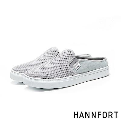 HANNFORT CAMPUS壓紋柔棉微包跟厚底穆勒鞋-女-舒適灰