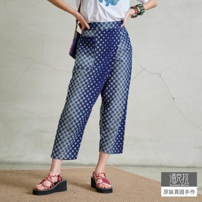 潘克拉 半鬆緊印花斜襠九分褲- 藍色