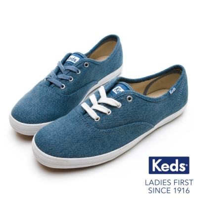 Keds CHAMPION 玩色經典綁帶休閒鞋-靛藍