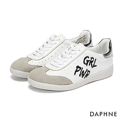 達芙妮DAPHNE 休閒鞋-復古拼接塗鴉平底休閒鞋-銀