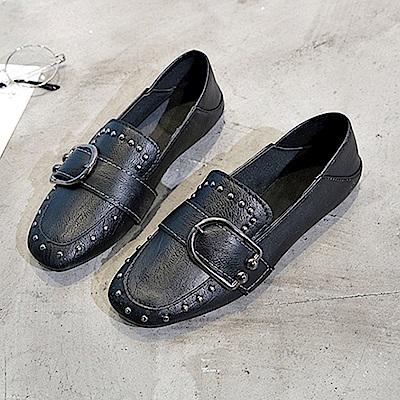 韓國KW美鞋館 韓時尚歐美平底鞋-黑色