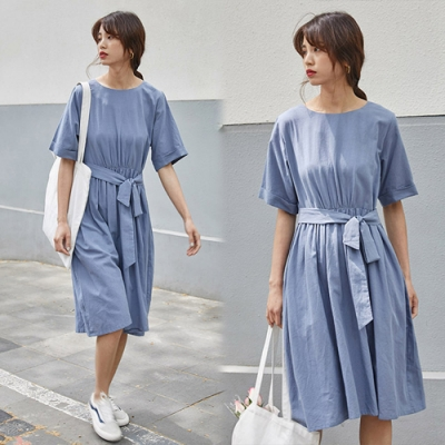 【韓國K.W.】(預購)韓新品搶眼奢華素色洋裝-2色