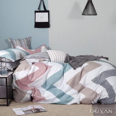 DUYAN竹漾-100%精梳純棉-單人三件式舖棉兩用被床包組-流淌時光 台灣製