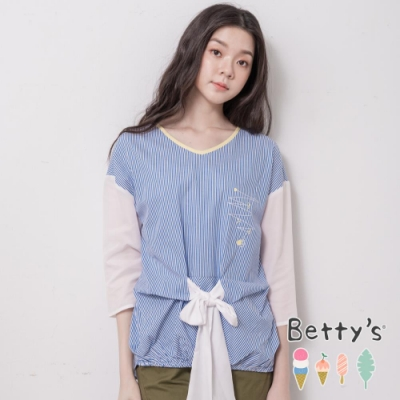 betty's貝蒂思 條紋拼接風綁結上衣(藍色)