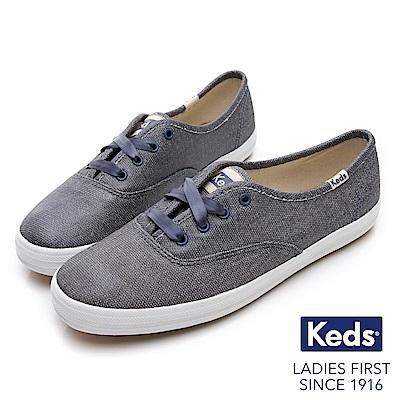 Keds CHAMPION 霧面光澤經典綁帶休閒鞋-藍