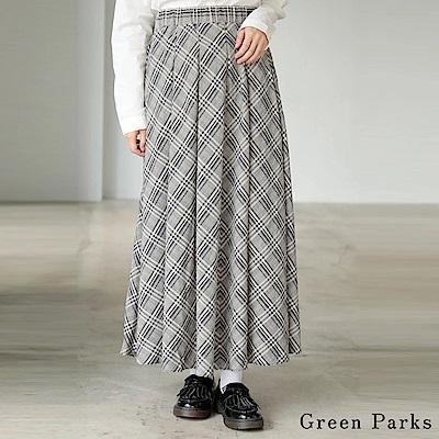 Green Parks 復古格紋喇叭長裙