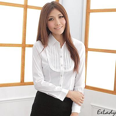 EELADY-胸襟壓皺長袖條紋襯衫(白色)
