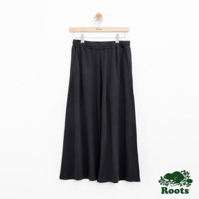 女裝Roots-寬版休閒棉褲-黑