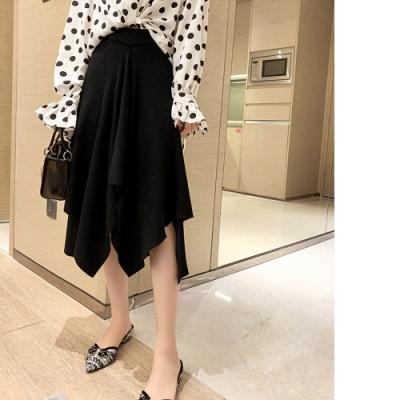 2F韓衣-復古不規則長裙-黑-F