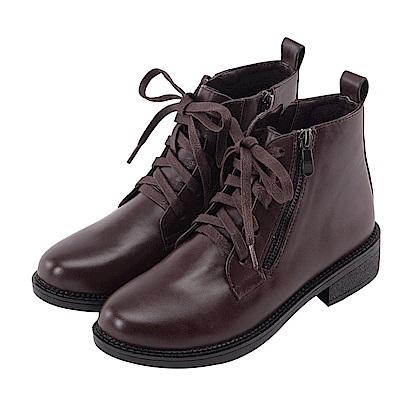 Grace gift-帥氣造型拉鍊綁帶短靴 深咖
