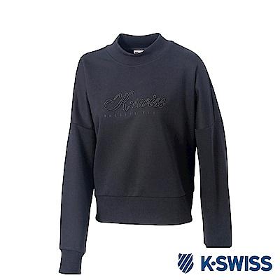 K-SWISS Round Sweat Shirts女圓領長袖上衣-女-黑