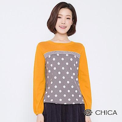 CHICA 時光販賣機圓點泡泡袖針織衫(2色)