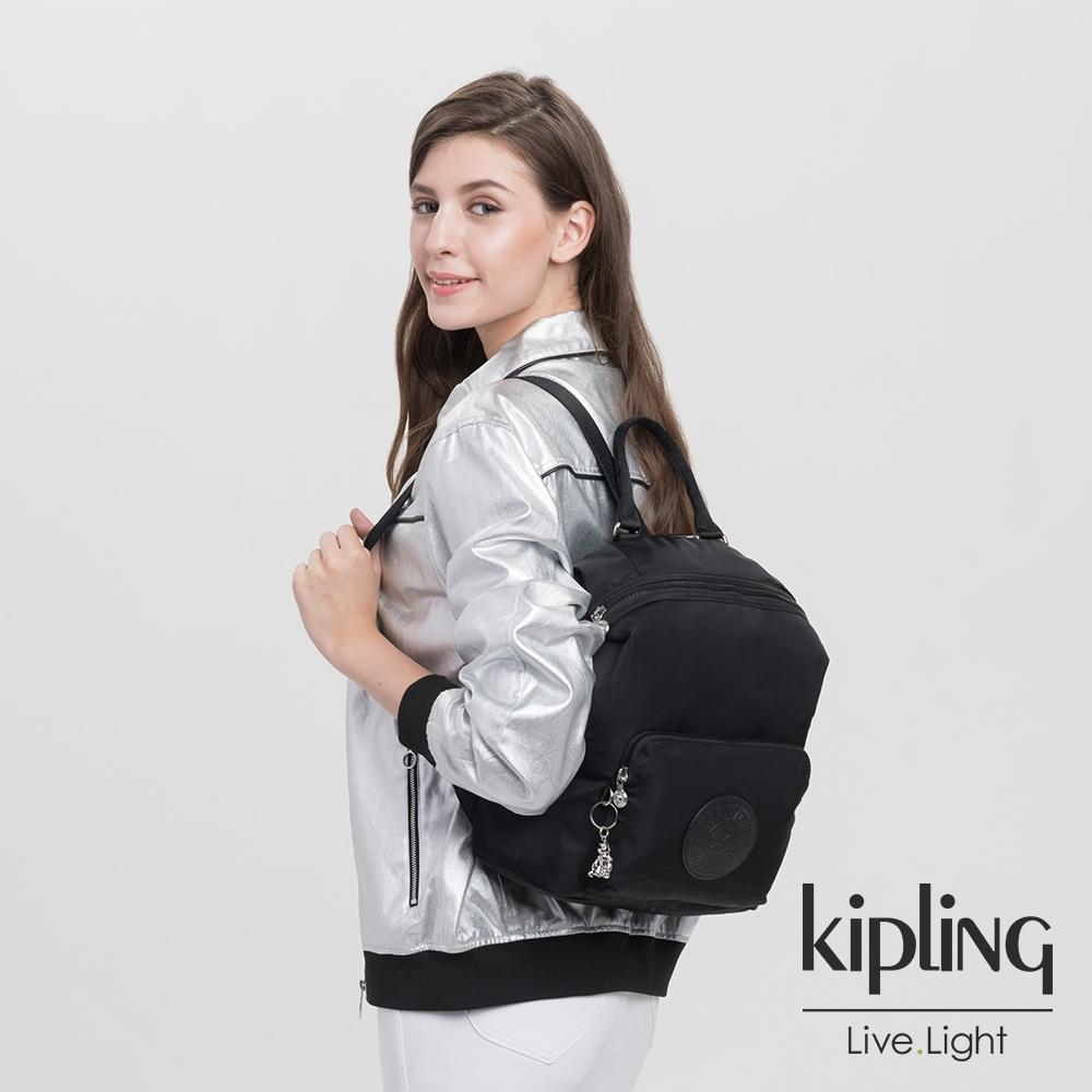 Kipling 未來質感黑多功能手提後背包-NALEB