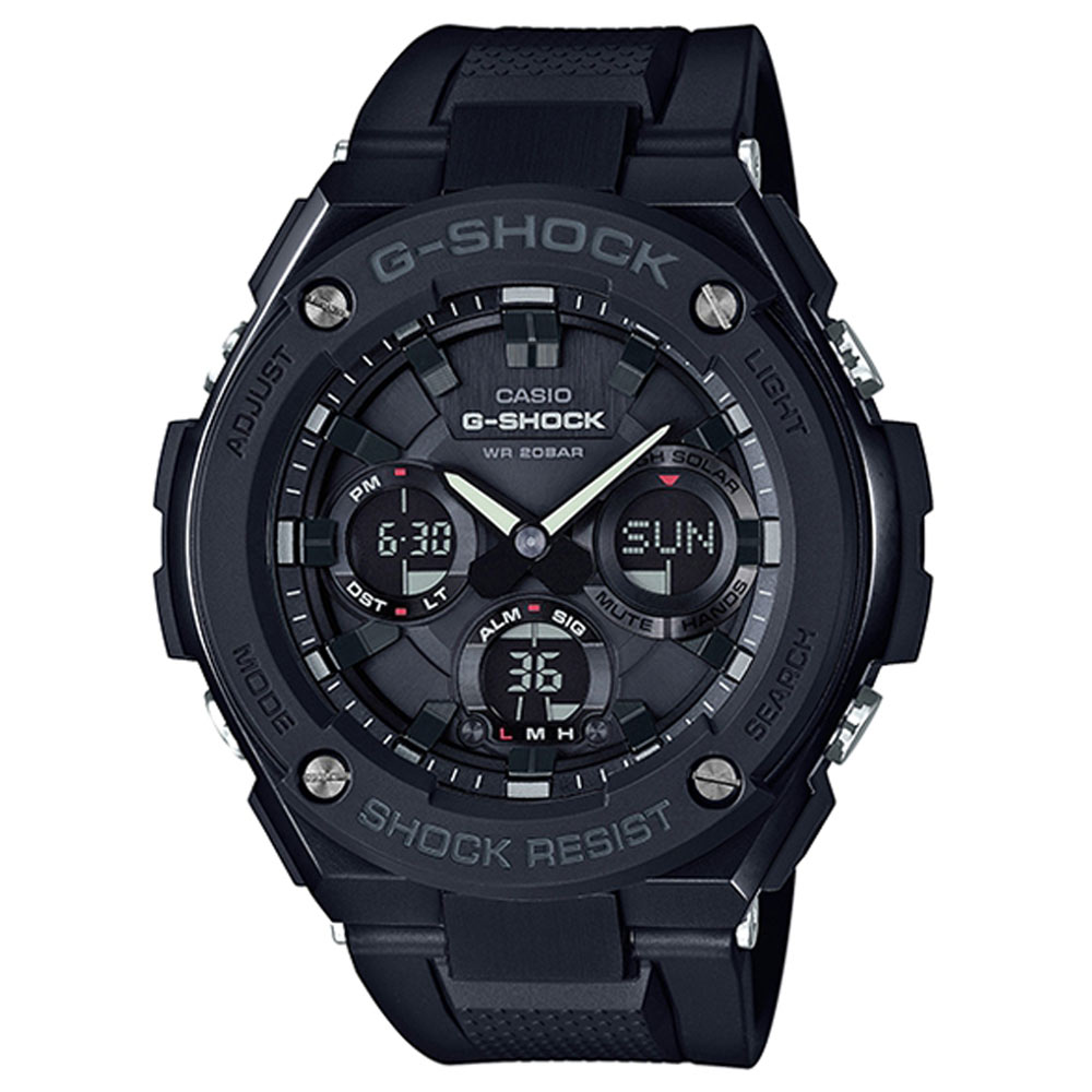 G-SHOCK絕對強悍分層防護構造防震概念休閒錶(GST-S100G-1B)-黑框X黑53mm