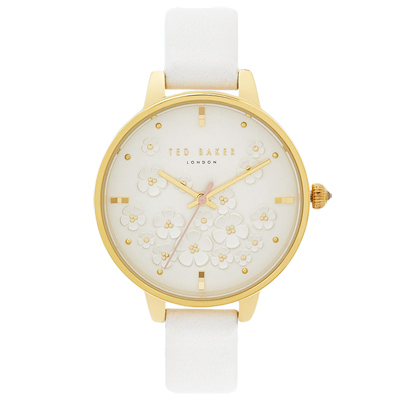 Ted Baker 魅力立體花朵皮革手錶-白X香檳金框/35mm