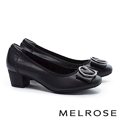 高跟鞋 MELROSE 復古典雅V型皮帶釦飾牛皮圓頭粗跟高跟鞋-黑