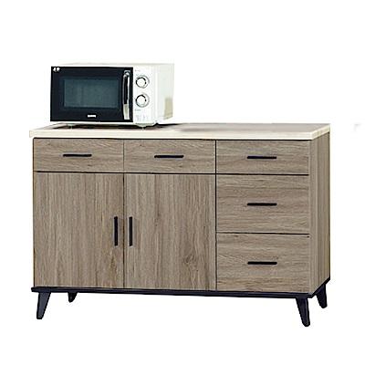 綠活居 波芬時尚4尺仿石面木紋餐櫃/收納櫃-120.9x43x81.4cm-免組