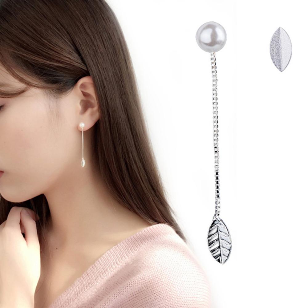 iSFairytale伊飾童話 銀葉珍珠 絲光磨砂白銀銅鍍30銀不對稱耳環