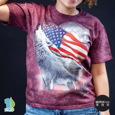 摩達客-美國進口The Mountain 愛國白狼嚎 純棉環保藝術中性短袖T恤