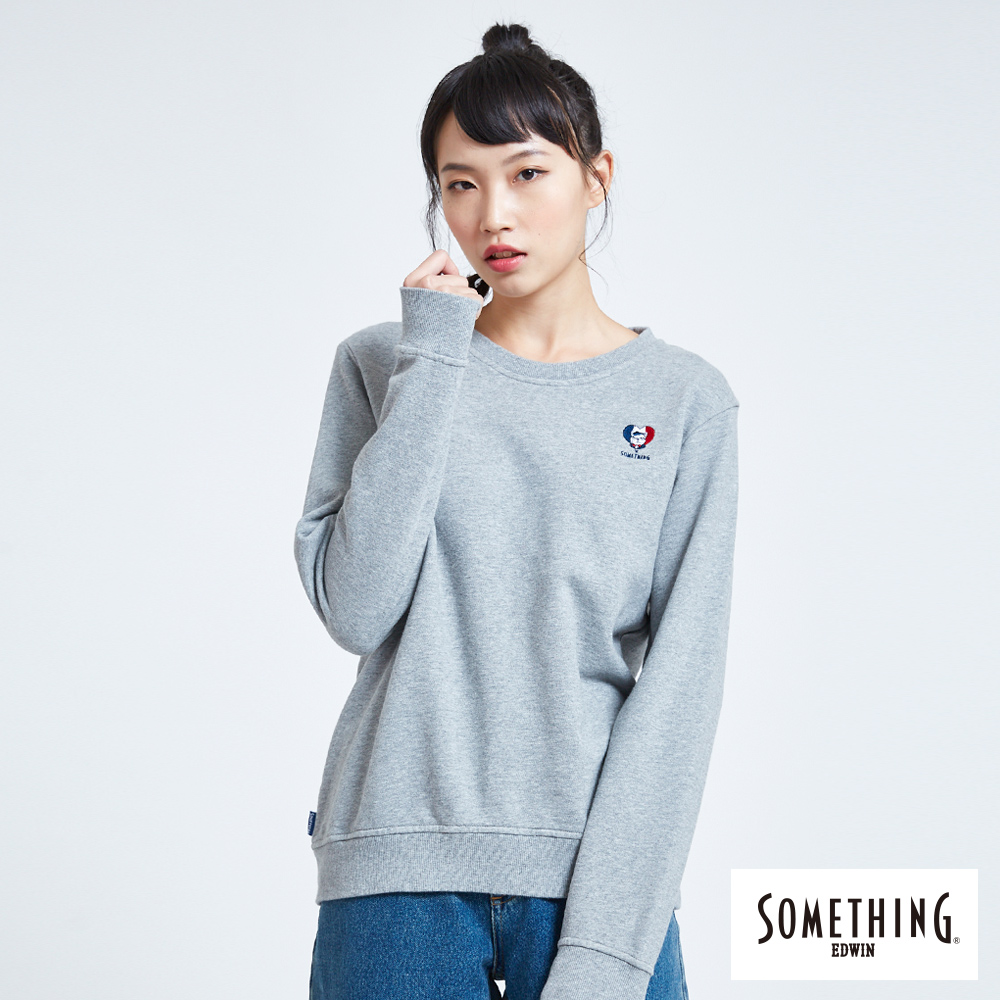 SOMETHING BONBON法鬥哥 小刺繡厚長袖T恤-女-灰色