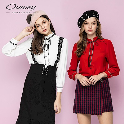 OUWEY歐薇 撞色織帶荷葉剪接小立領上衣(白/紅)