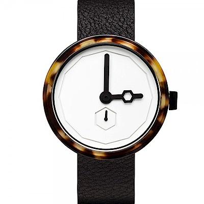 AÃRK 幾何琥珀真皮革腕錶  /白38mm
