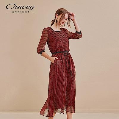 OUWEY歐薇 滿版幾何印花雪紡洋裝(紅)